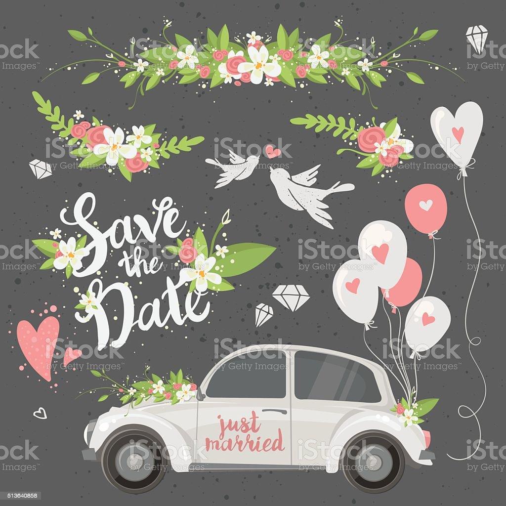 Wedding clipart set vector art illustration