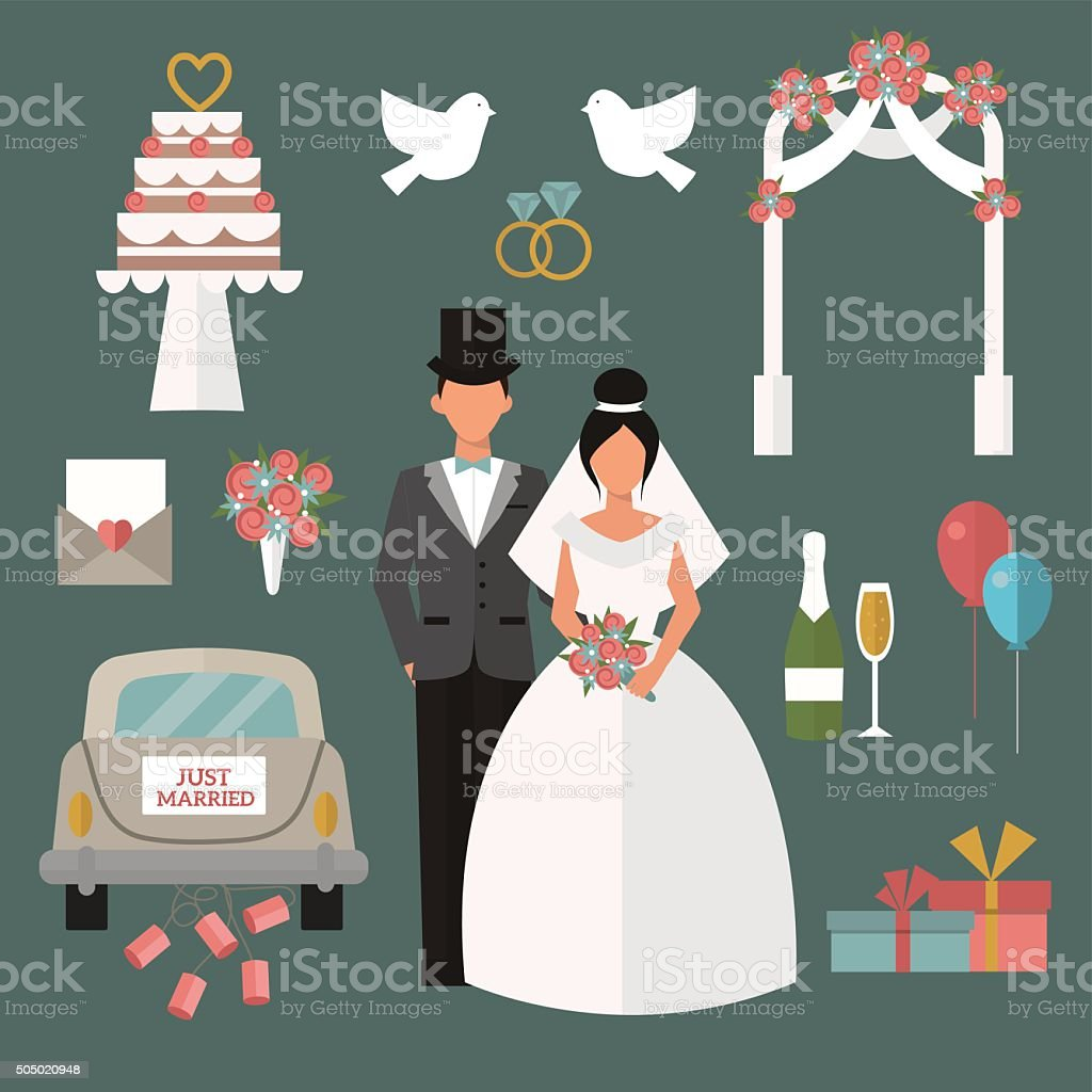 Wedding couple and icons cartoon style vector illustration vector art illustration