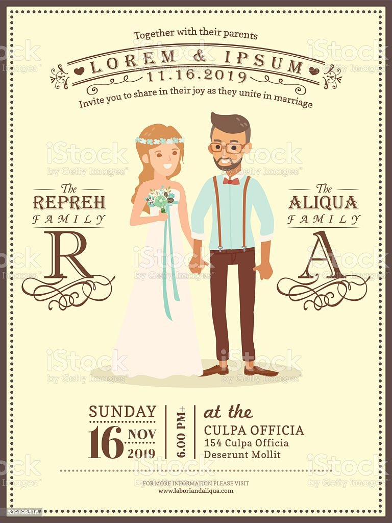 Hochzeit Paar Bräutigam Und Braut Comic Hochzeit Einladung Karte Vorlagen  Lizenzfreies Vektor Illustration