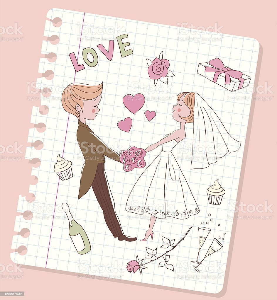 Wedding couple holding hands royalty-free stock vector art