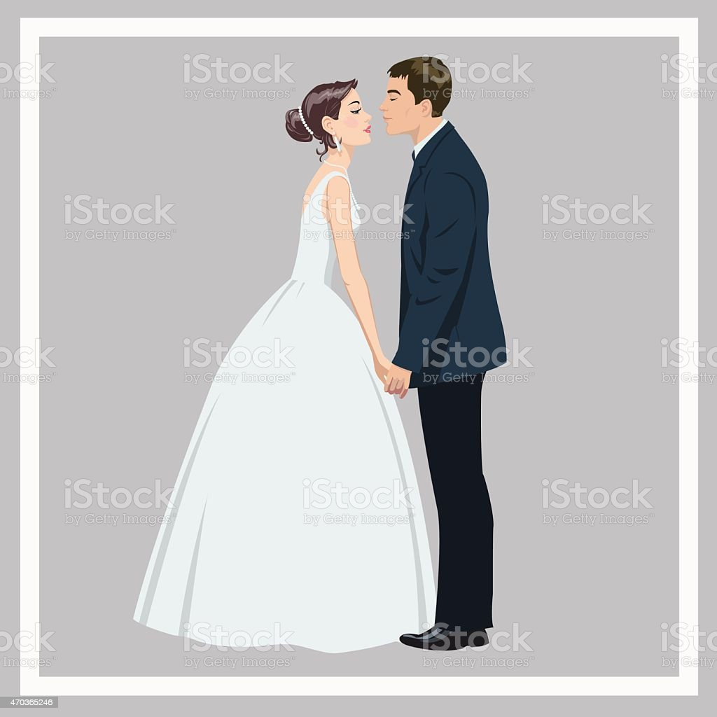 Wedding couple in love royalty-free stock vector art
