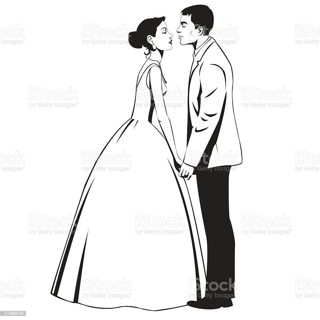 Wedding couple in love royalty-free stock vector art