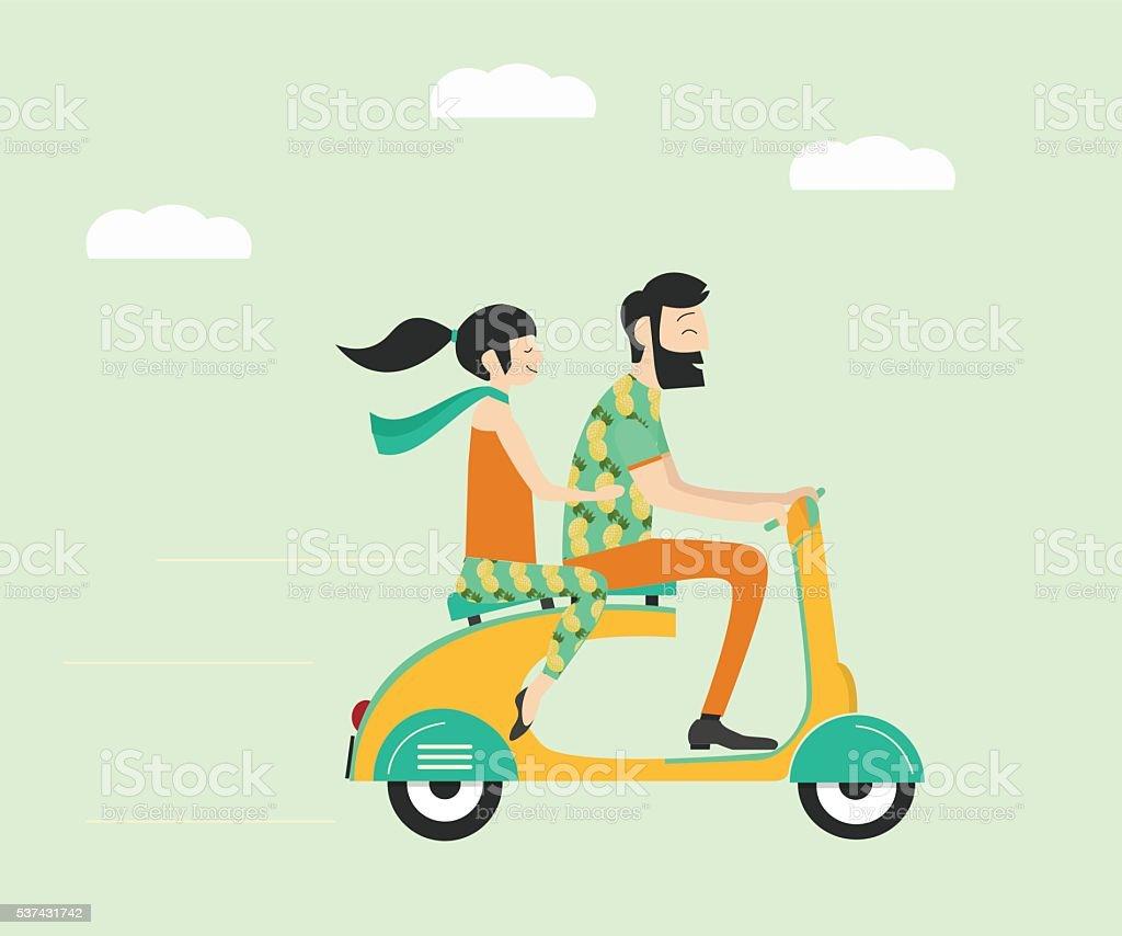 Wedding couple on scooter vector art illustration