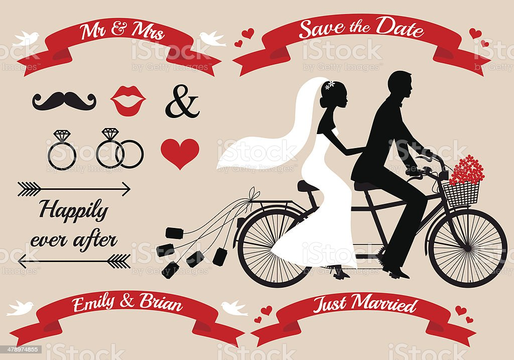 wedding couple on tandem bicycle, vector set vector art illustration