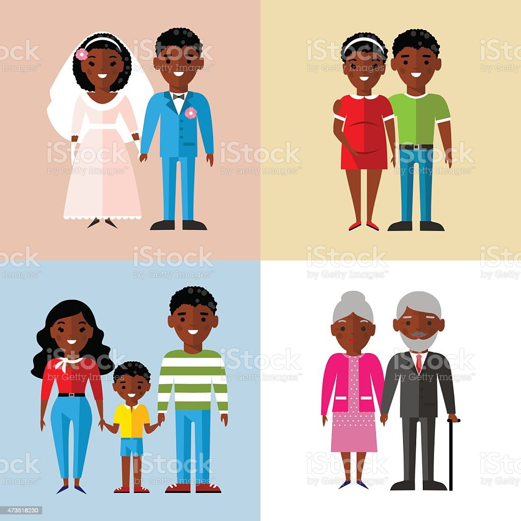 Wedding couple, pregnant couple, family, and old couple vector art illustration