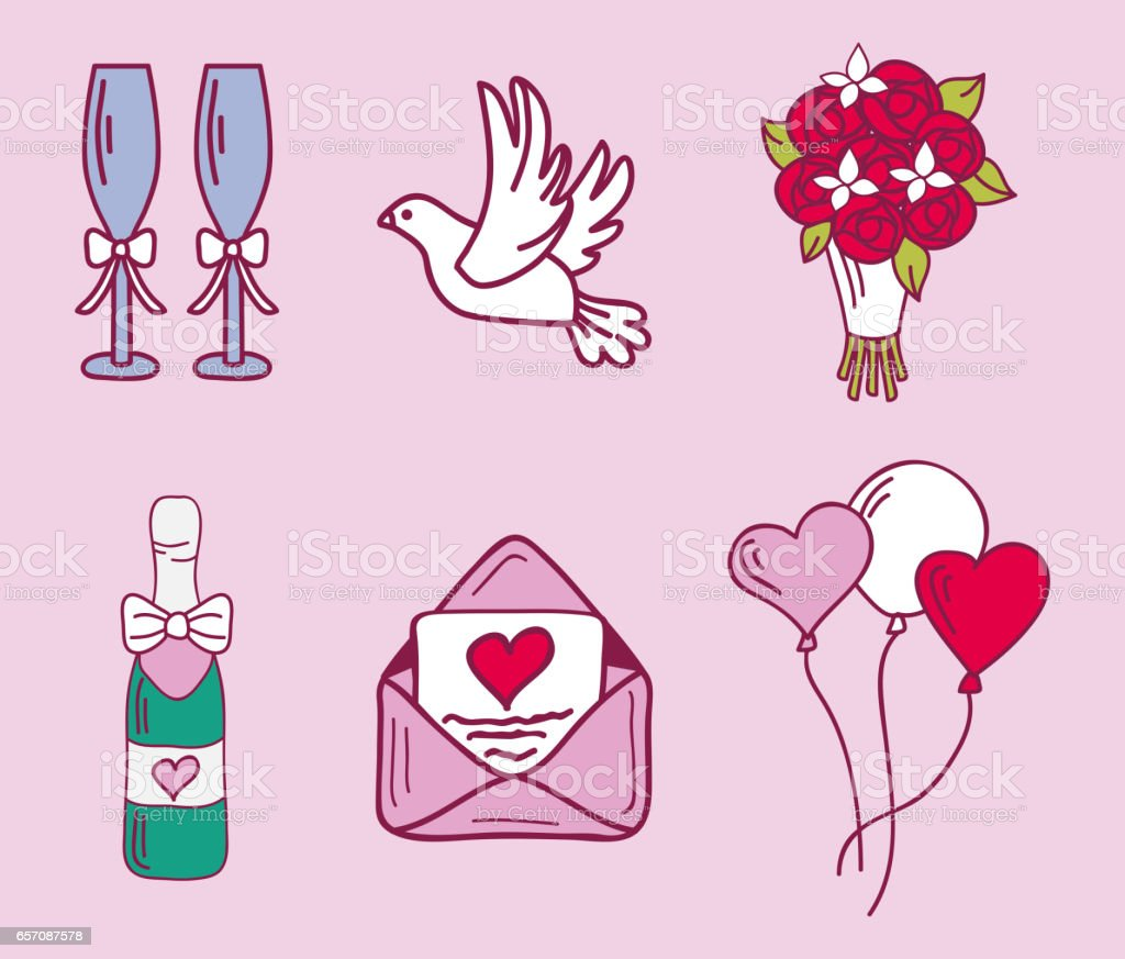 Wedding couple relationship marriage nuptial icons design ceremony celebration and holliday folk icons beauty hand drawn family pink vector illustration vector art illustration