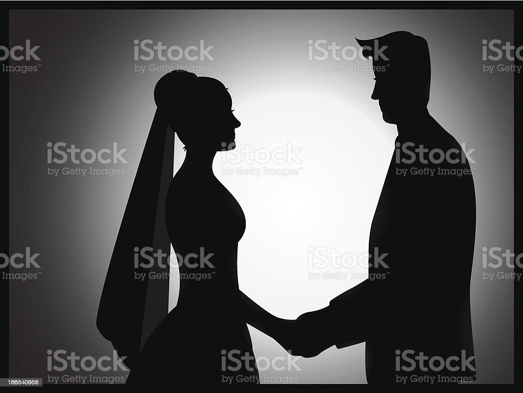 Wedding Couple Silhouette royalty-free stock vector art