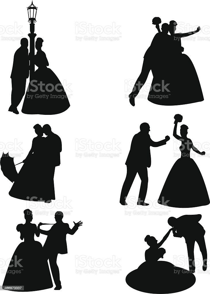 Wedding couple silhouttes royalty-free stock vector art