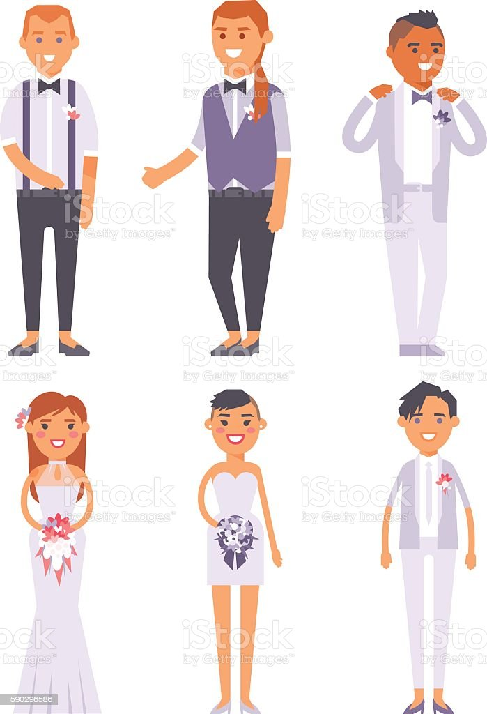 Wedding couple vector people vector art illustration