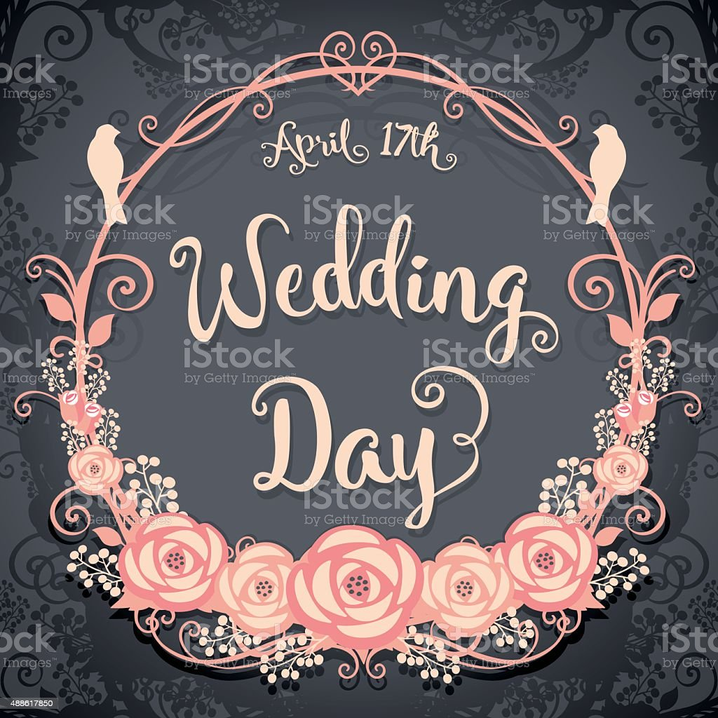 Wedding Day. Floral Square card on a gray background vector art illustration