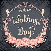 Wedding Day. Floral Square card on a gray background