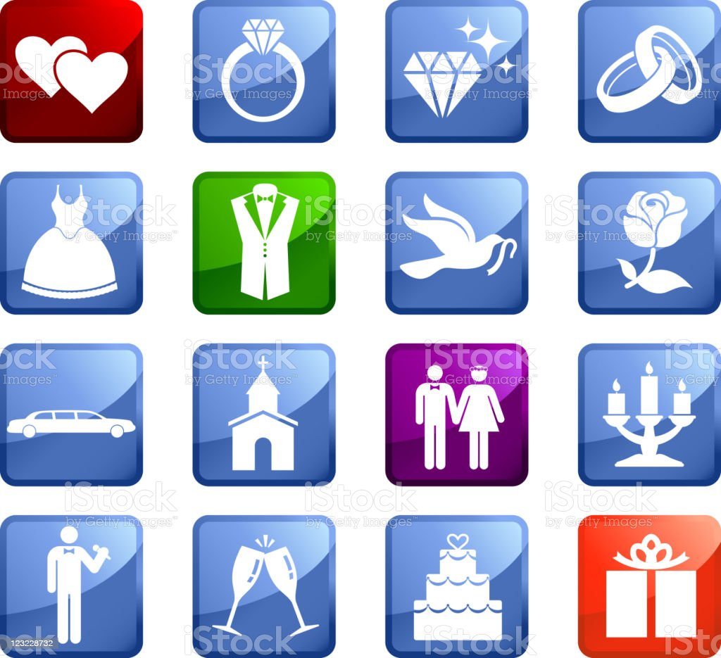 Wedding day sixteen royalty free icons vector art illustration