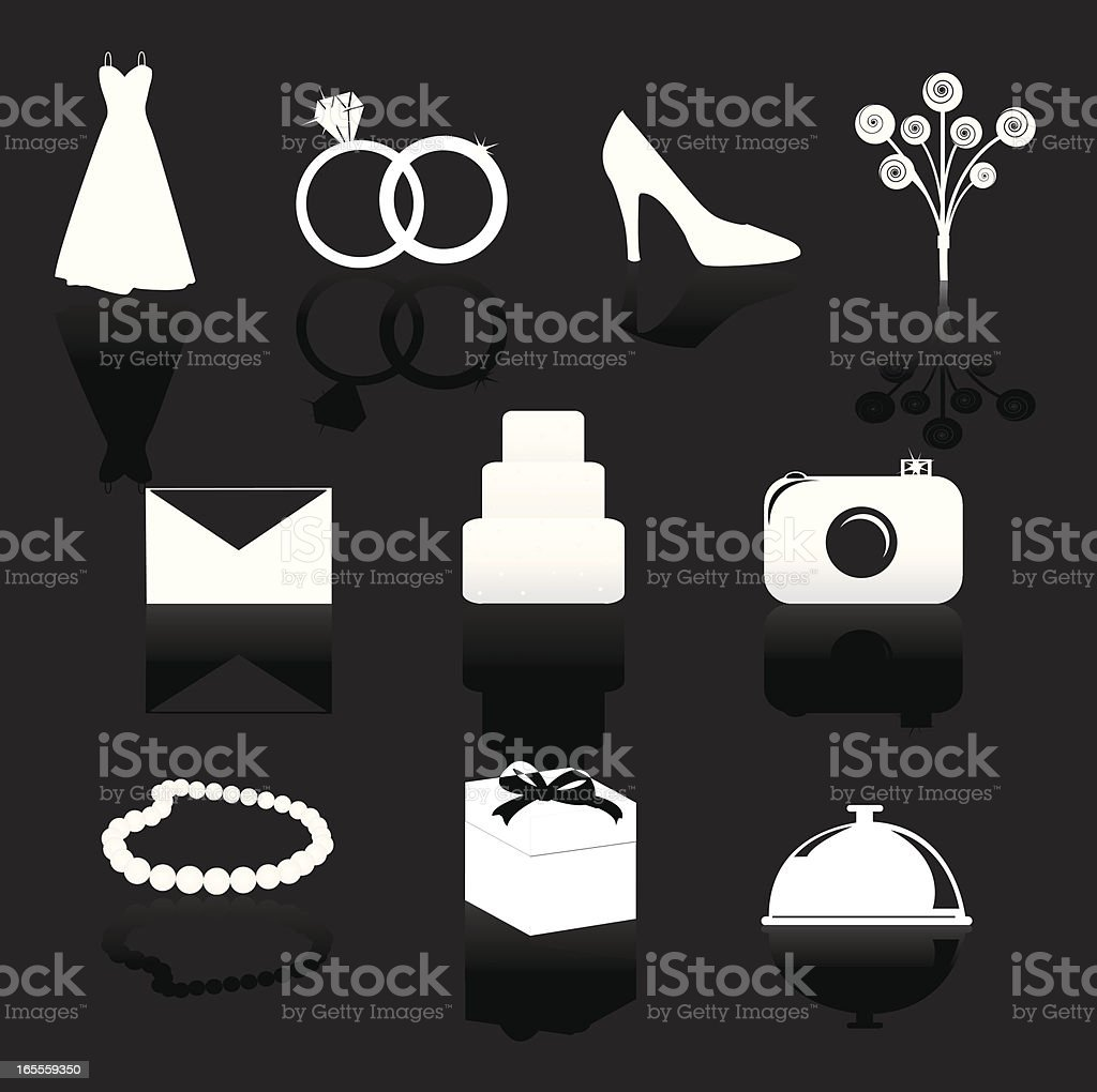 Wedding Day Symbols with Reflections - Set 1 of 2 vector art illustration