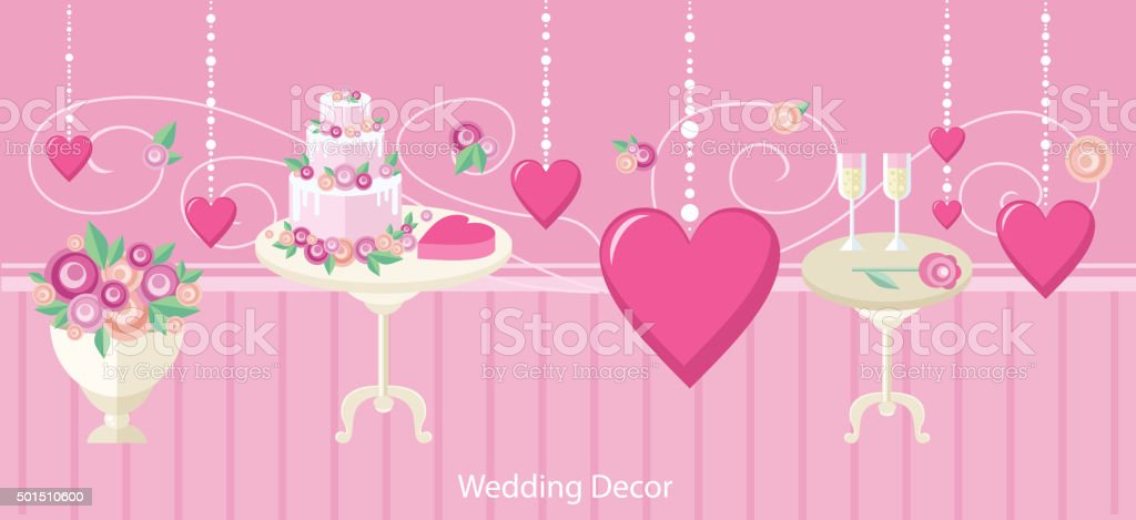 Wedding decor fashion interior vector art illustration