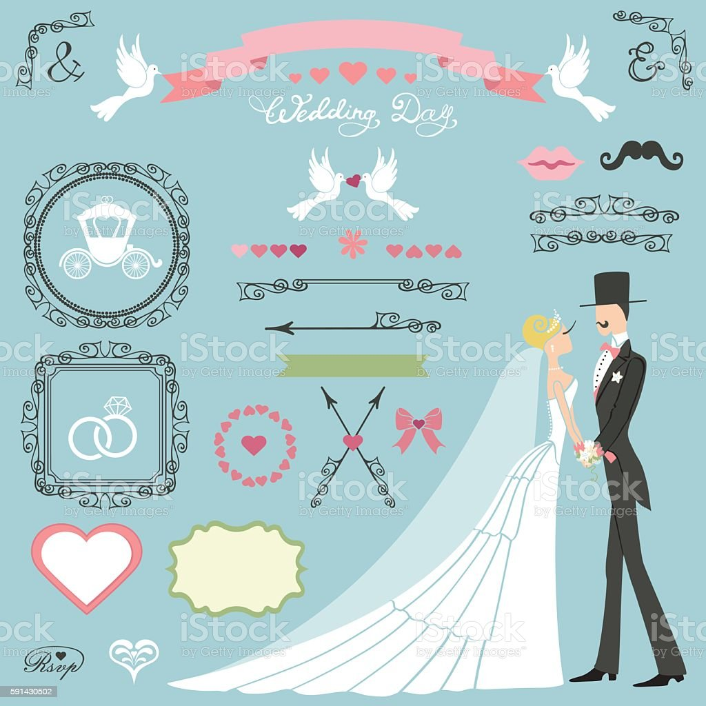 Wedding decor set.Flat  bride,groom,swirls,badges,ribbons vector art illustration