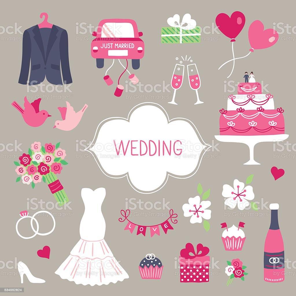 Wedding design elements. Smoking, car, gift, balloon, dove, cake, bouquet vector art illustration