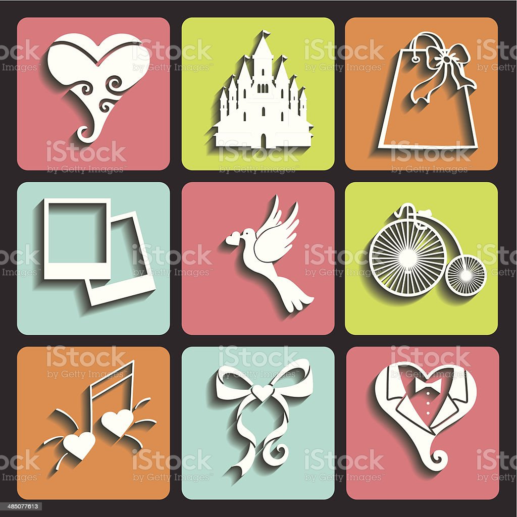 Wedding Design Flat icons for Web and Mobile.Vector royalty-free stock vector art
