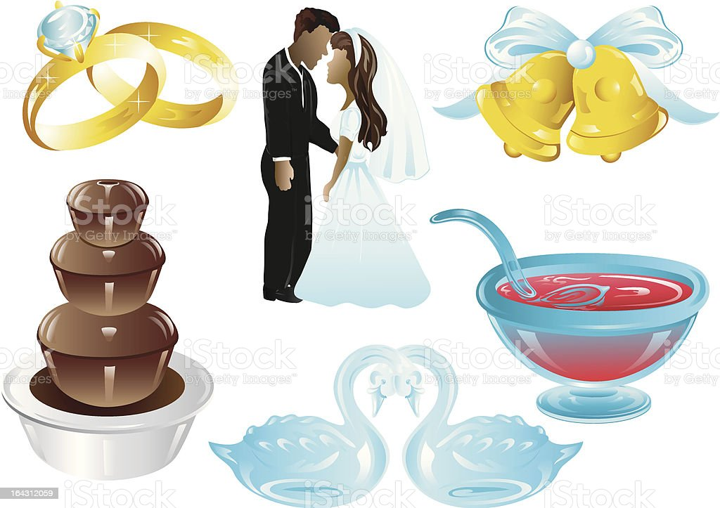 Wedding Design icons vector art illustration