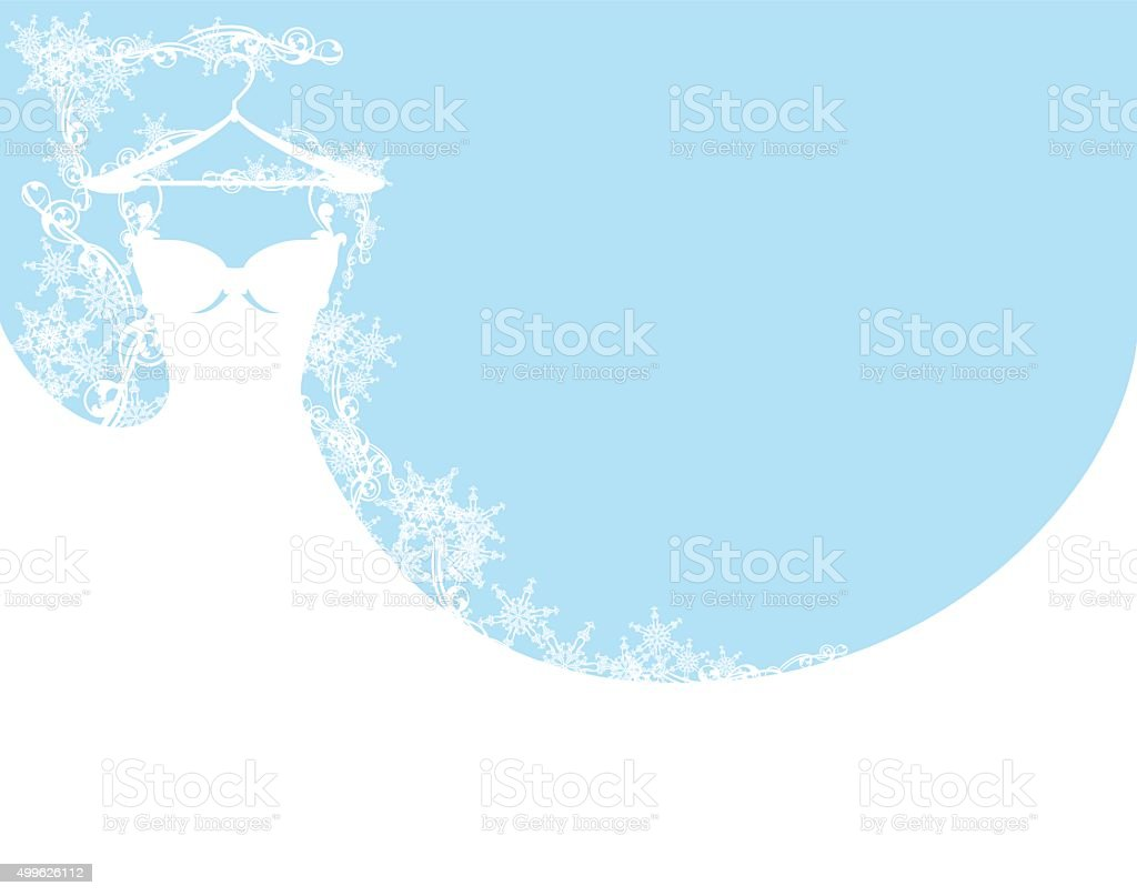 wedding dress among snowflakes vector art illustration