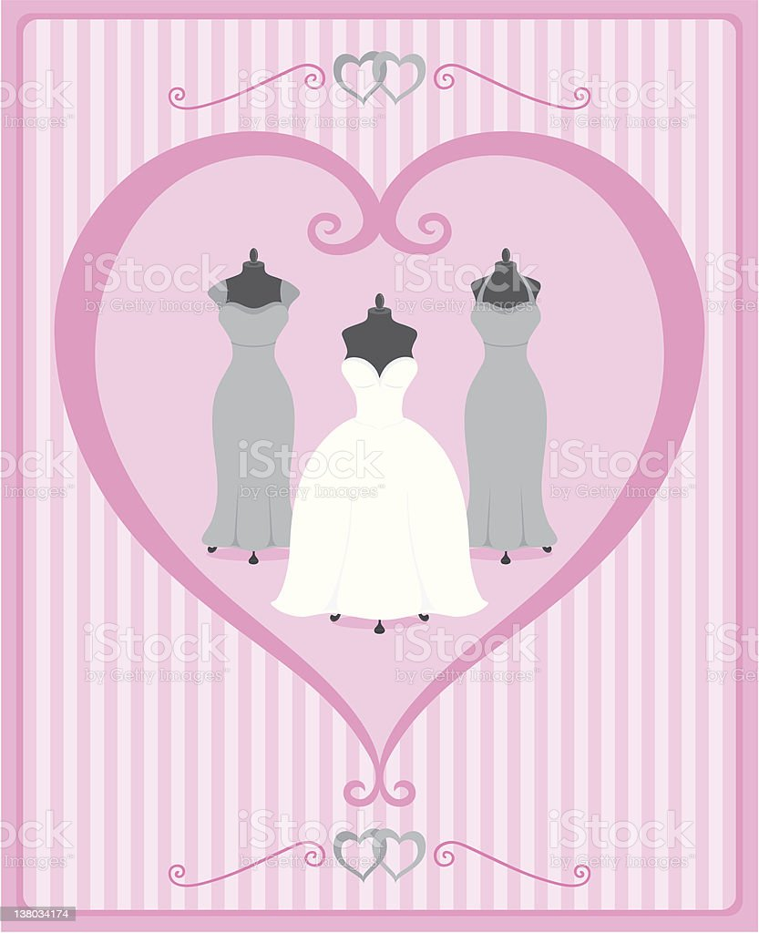 Wedding dress and bridesmaid dresses trio in shades of pink vector art illustration