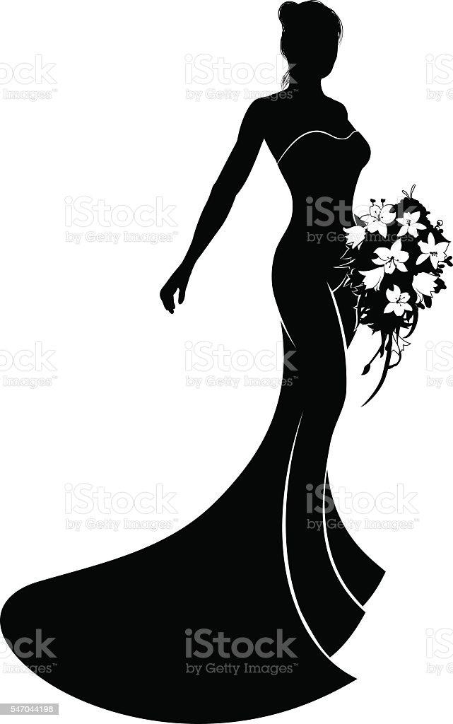 Wedding Dress Bride Silhouette vector art illustration