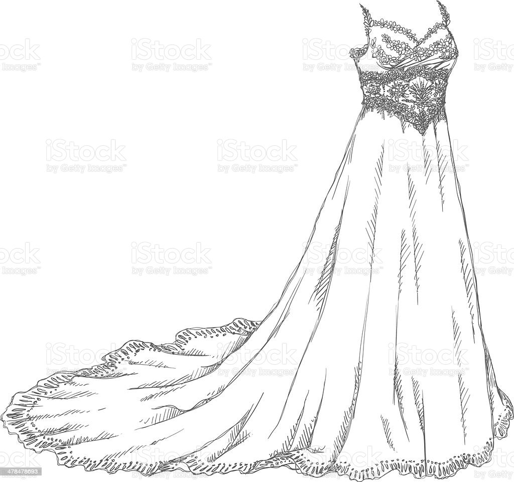 Wedding dress drawing vector art illustration