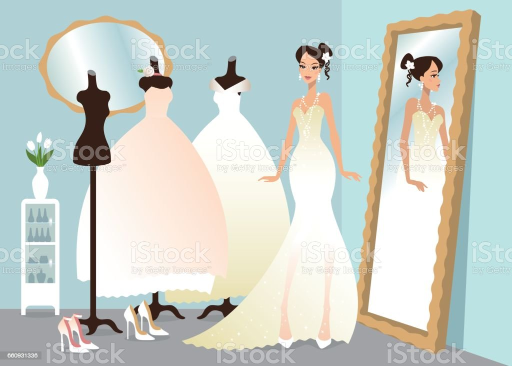 Wedding dress fitting vector art illustration