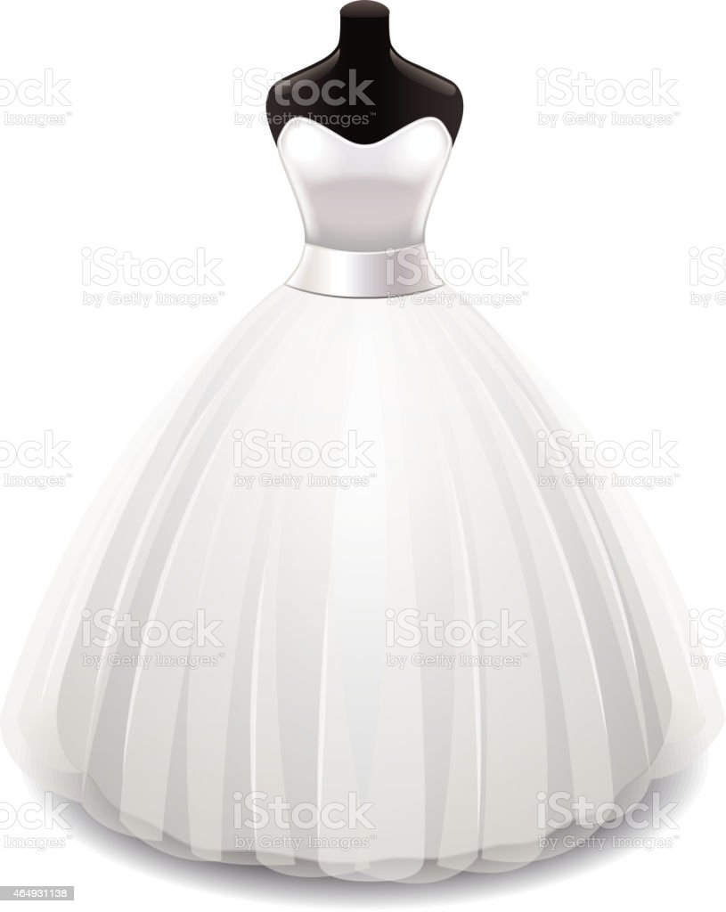 Wedding dress isolated on white vector vector art illustration