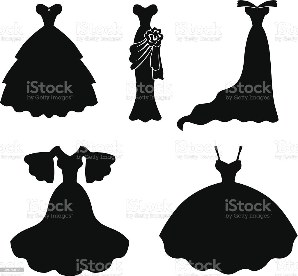 Wedding dress set vector art illustration