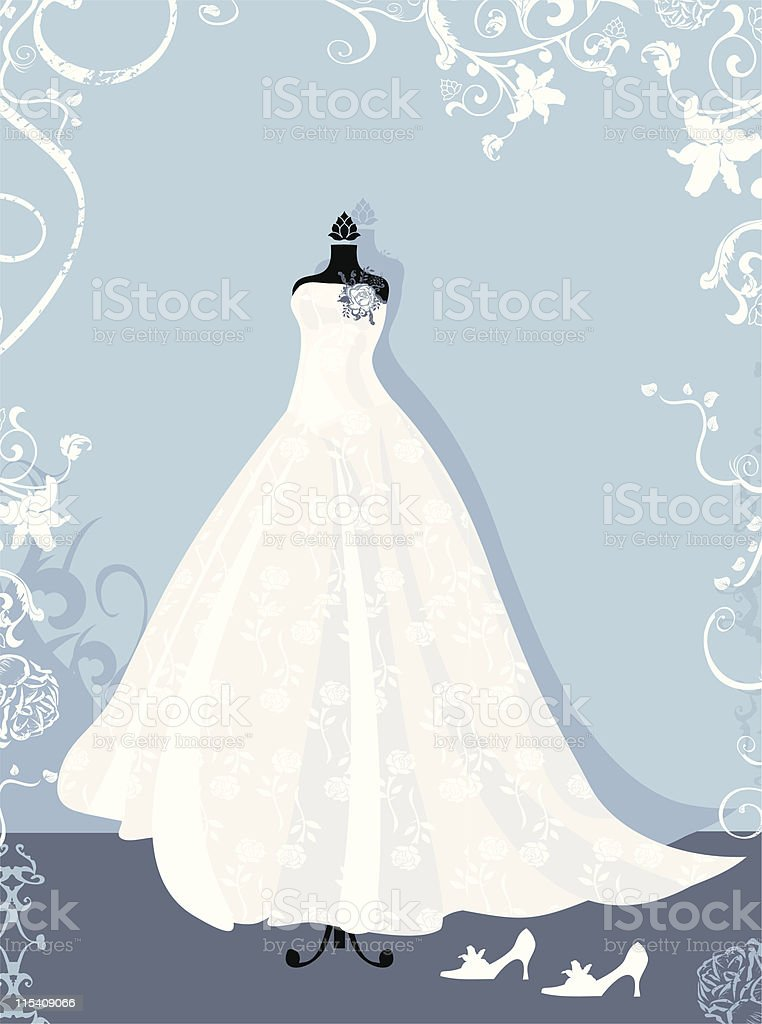Свадебное платье в векторе