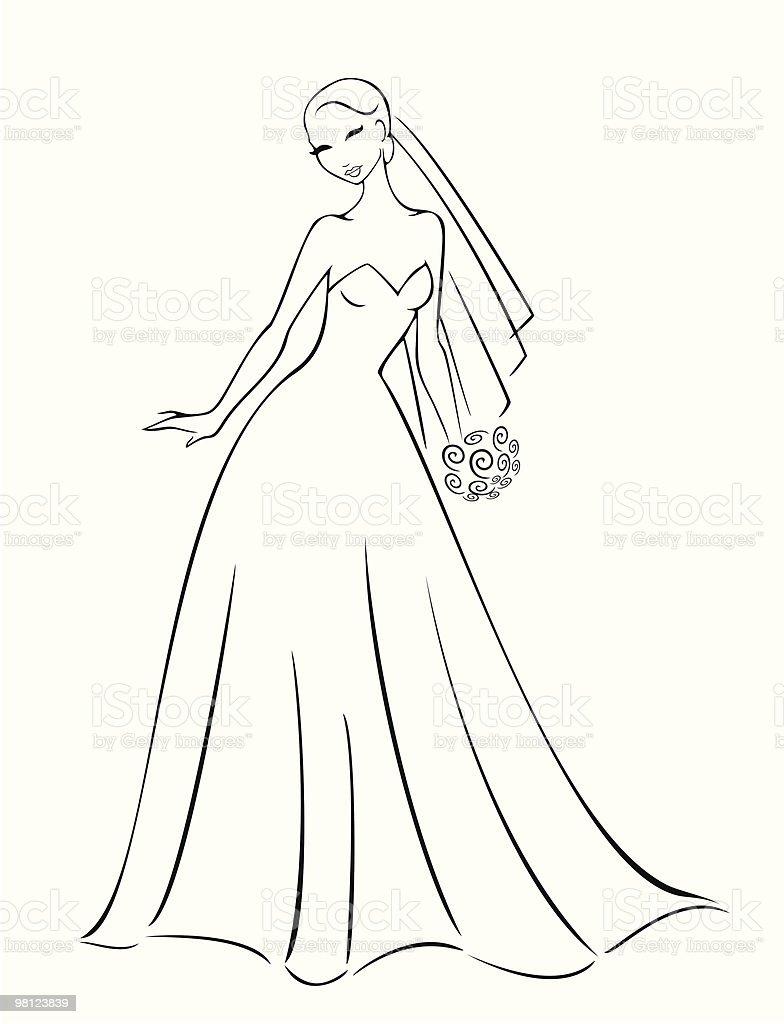 Wedding Dress vector art illustration