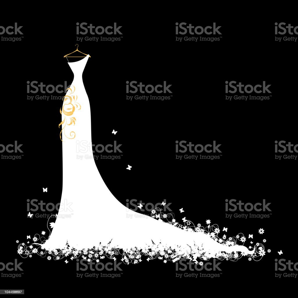 Wedding dress white on hangers vector art illustration