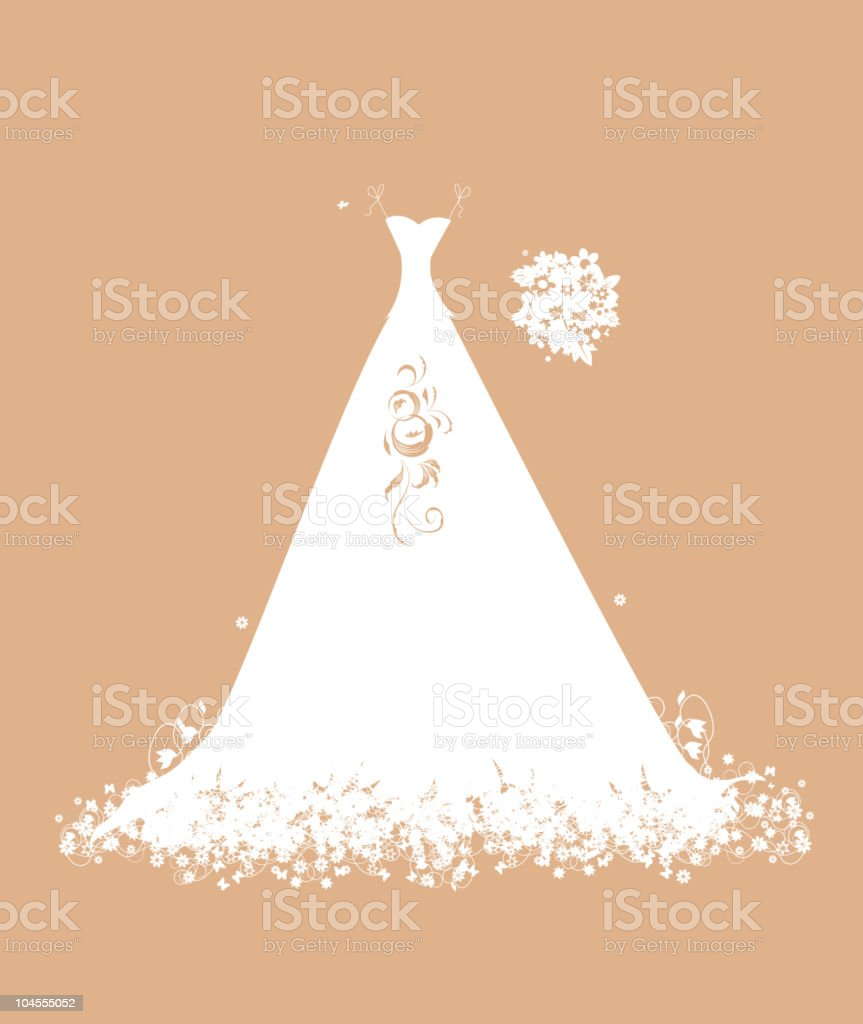 Wedding dress white on hangers with floral bouquet vector art illustration