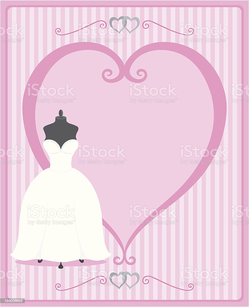 Wedding dress with heart shaped frame in shades of pink vector art illustration