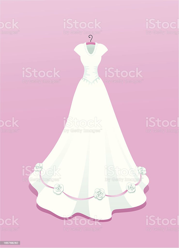 Wedding dress with roses royalty-free stock vector art