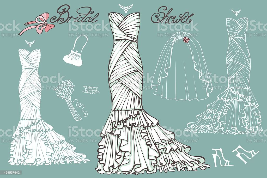 Wedding dresses and accessories set.Vintage bridal vector vector art illustration