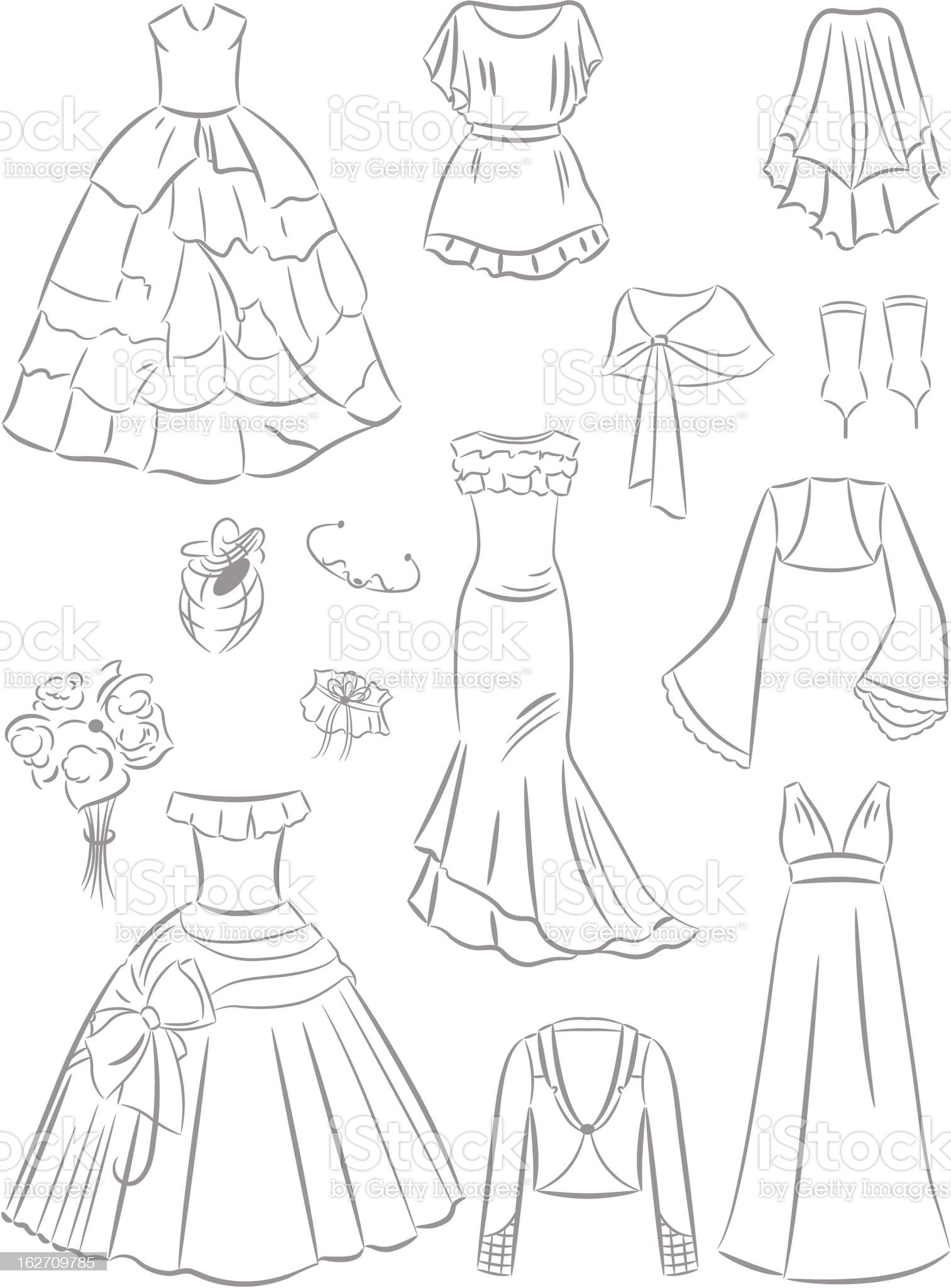 Wedding dresses and accessories royalty-free stock vector art