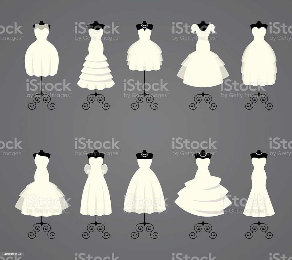 Wedding dresses in different styles vector art illustration