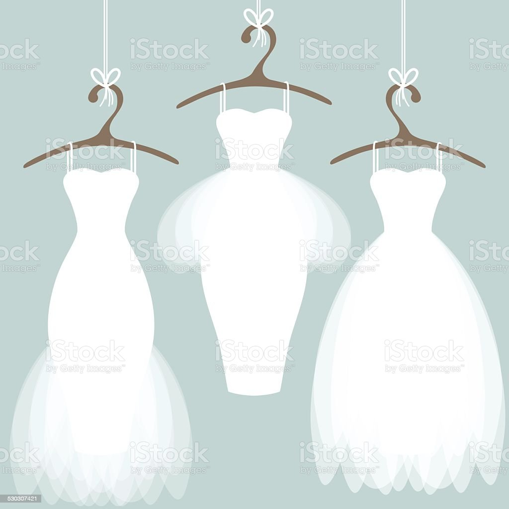 Wedding dresses on hangers vector art illustration