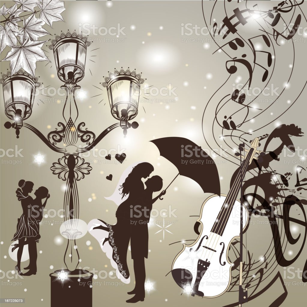 Wedding elegant  background with cute couple street light and violin royalty-free stock vector art
