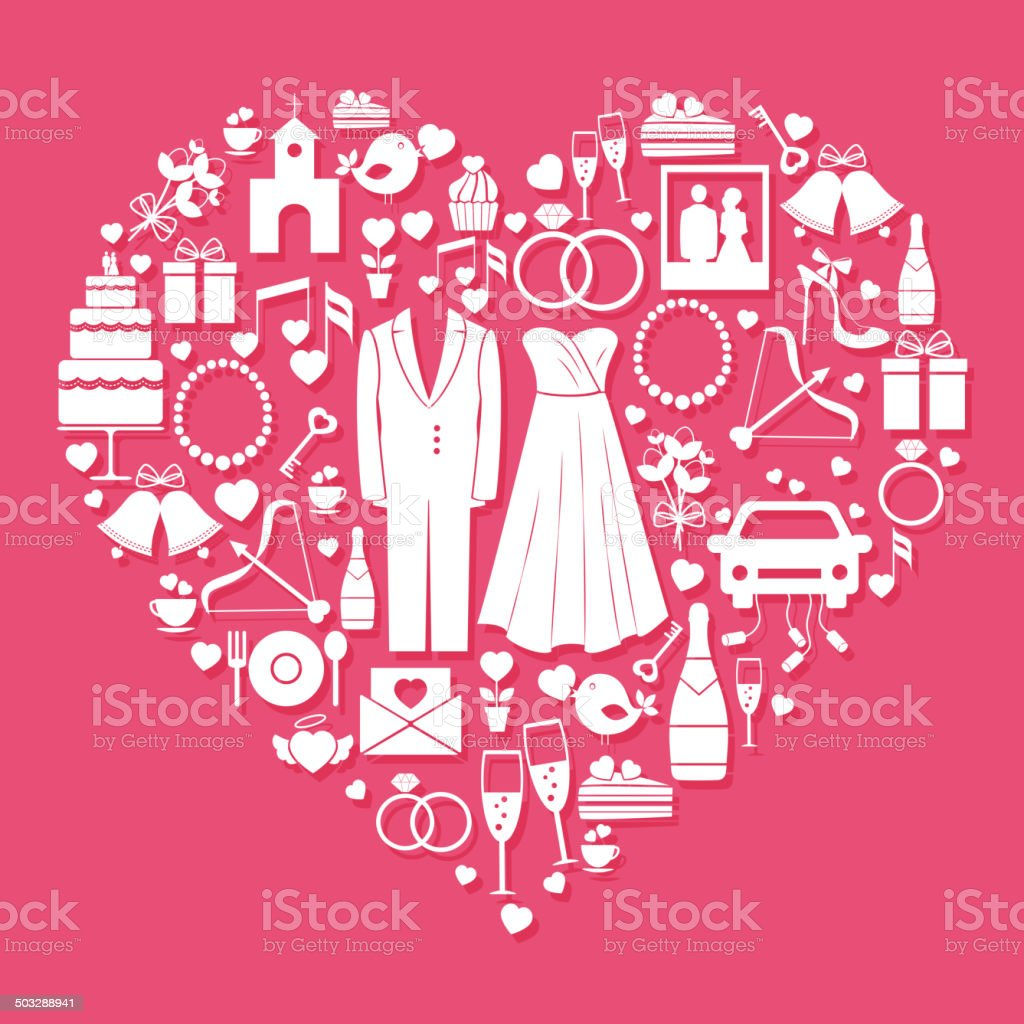 Wedding elements in the shape of a heart royalty-free stock vector art