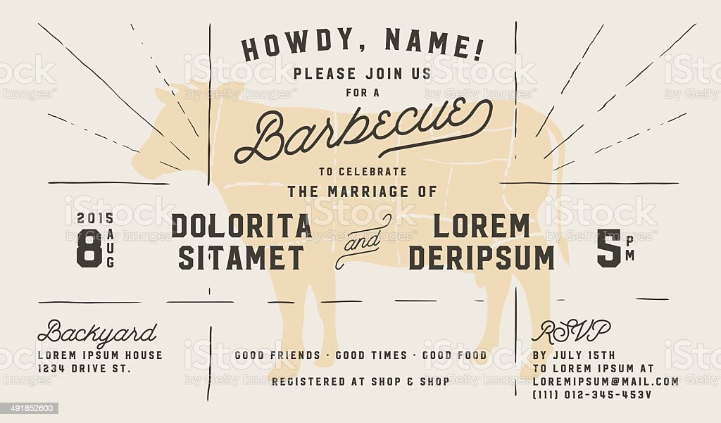 Wedding engagement BBQ vintage invitation template vector art illustration