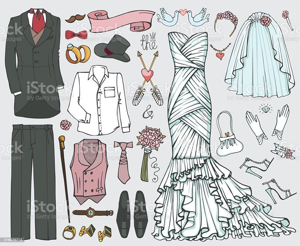 Wedding fashion.Doodle bride,groom dress,clothing set vector art illustration