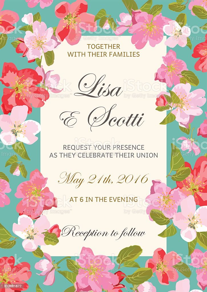 Wedding floral invitation with colorful spring flowers. vector art illustration