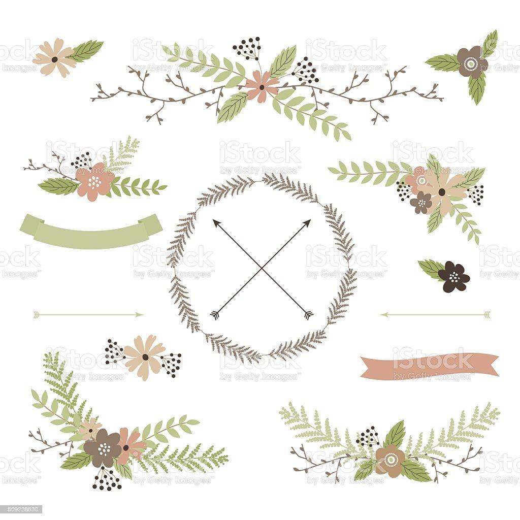 Wedding floral set vector art illustration