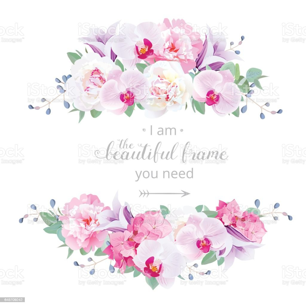 Wedding Floral Vector Design Horizontal Card Stock Vector Art
