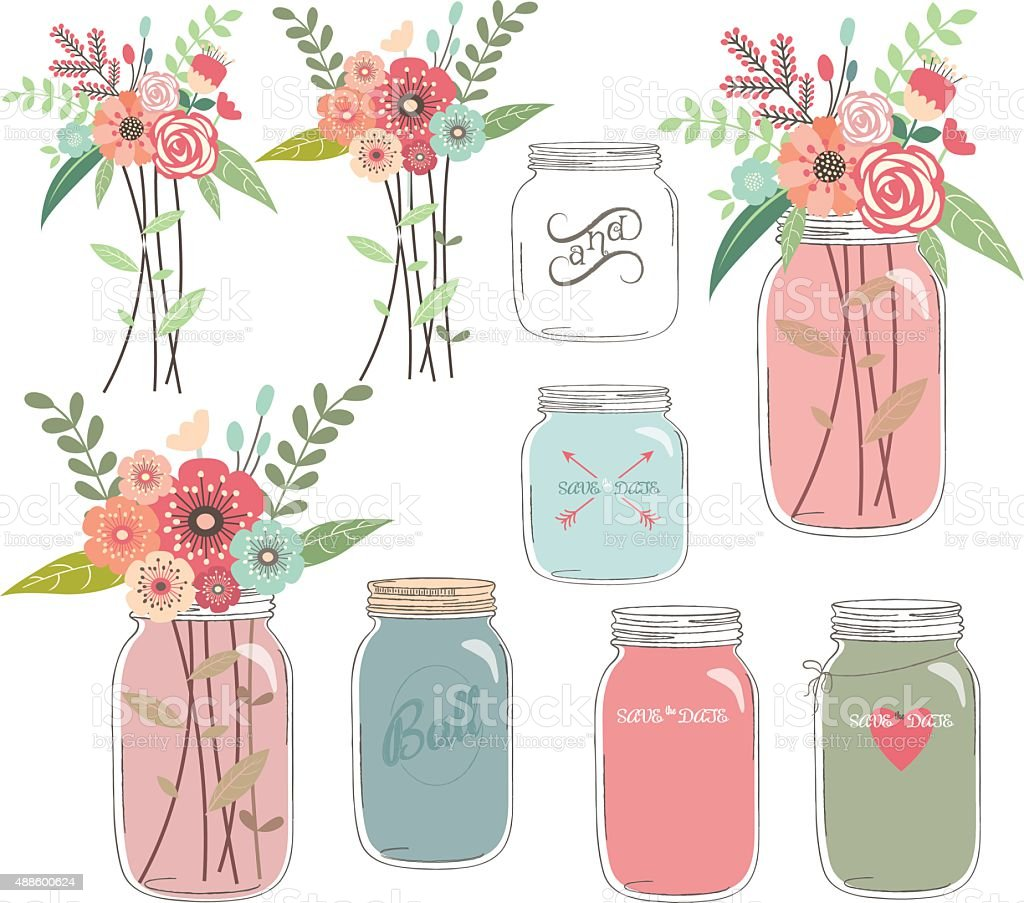 Wedding Floral with Mason Jar vector art illustration