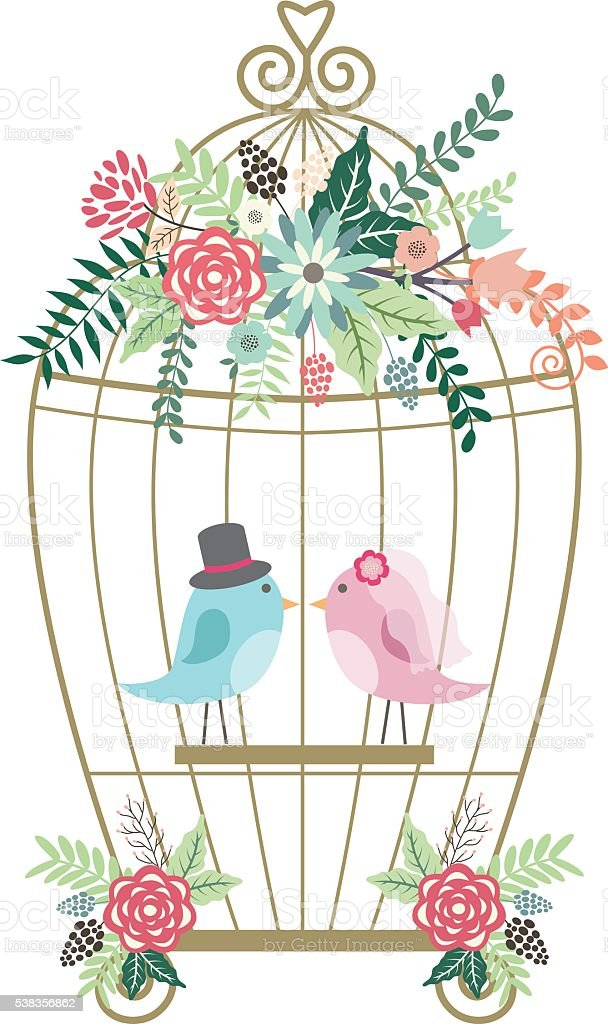 Wedding Floral,Birdcage,Birds. vector art illustration