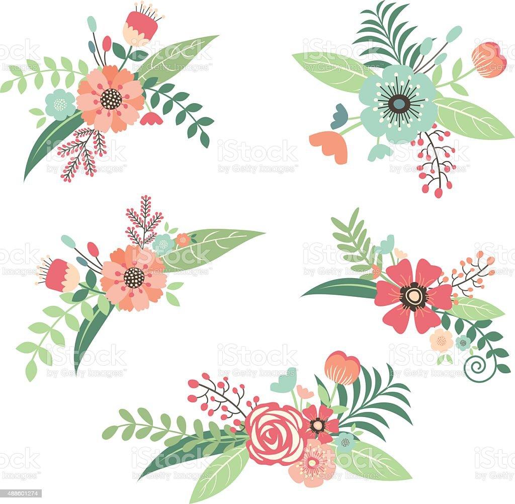 Wedding Flower Bouquet Set vector art illustration