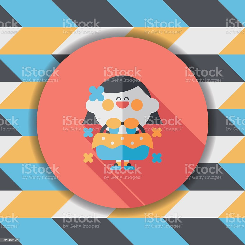 wedding flower girl flat icon with long shadow,eps10 vector art illustration